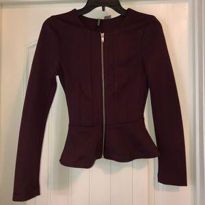 NWOT H&M Maroon Peplum Blazer Jacket Top